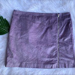 Loft purple velvet skirt